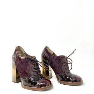Dolce & Gabbana Burgundy Patent Leather & Calf Hair Wingtip Heeled Oxfords 37/7